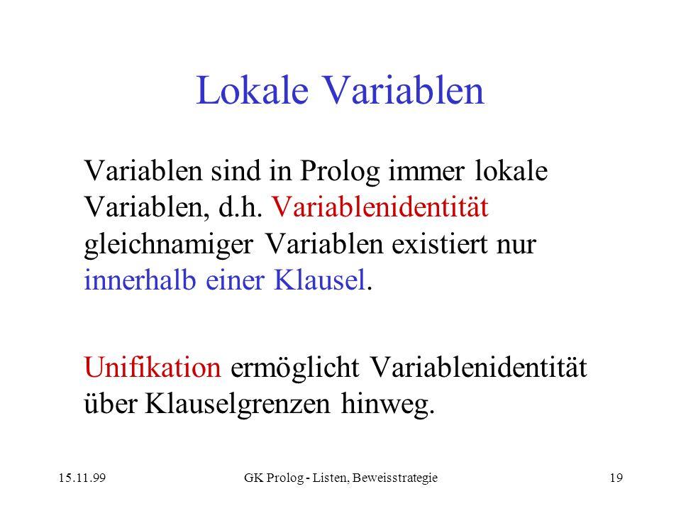 GK Prolog - Listen, Beweisstrategie