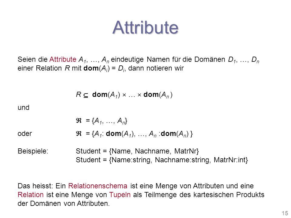 Attribute Seien die Attribute A1, …, An eindeutige Namen für die Domänen D1, …, Dn einer Relation R mit dom(Ai) = Di, dann notieren wir.