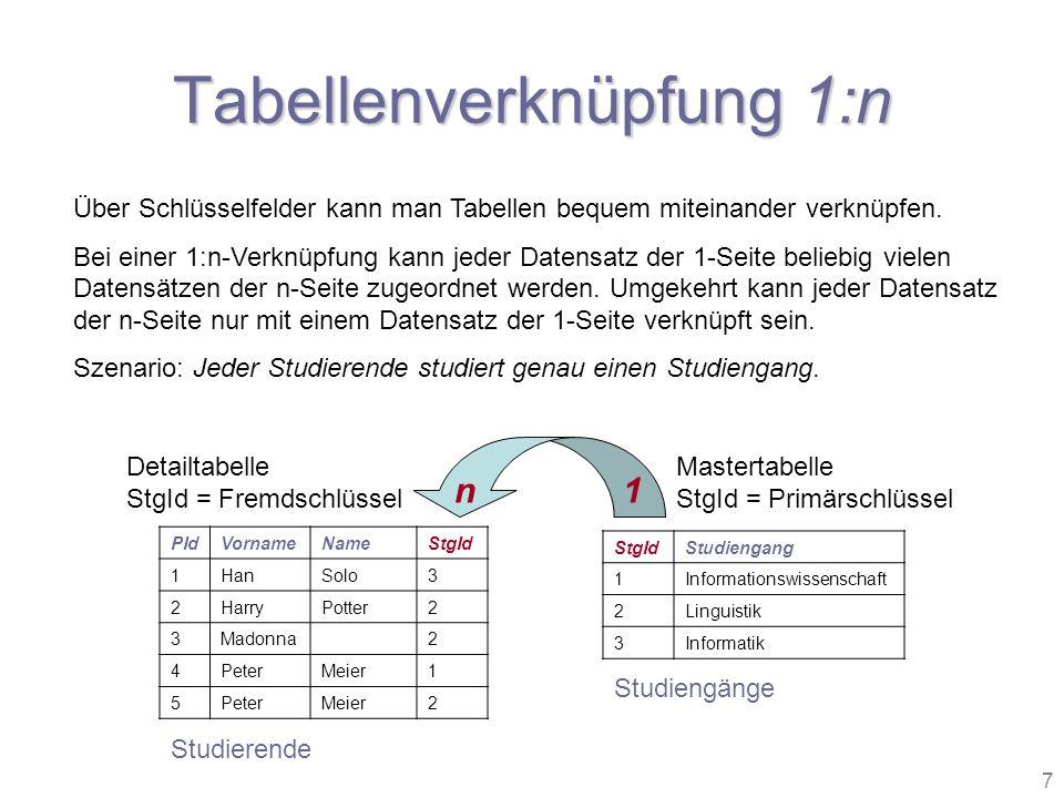 Tabellenverknüpfung 1:n