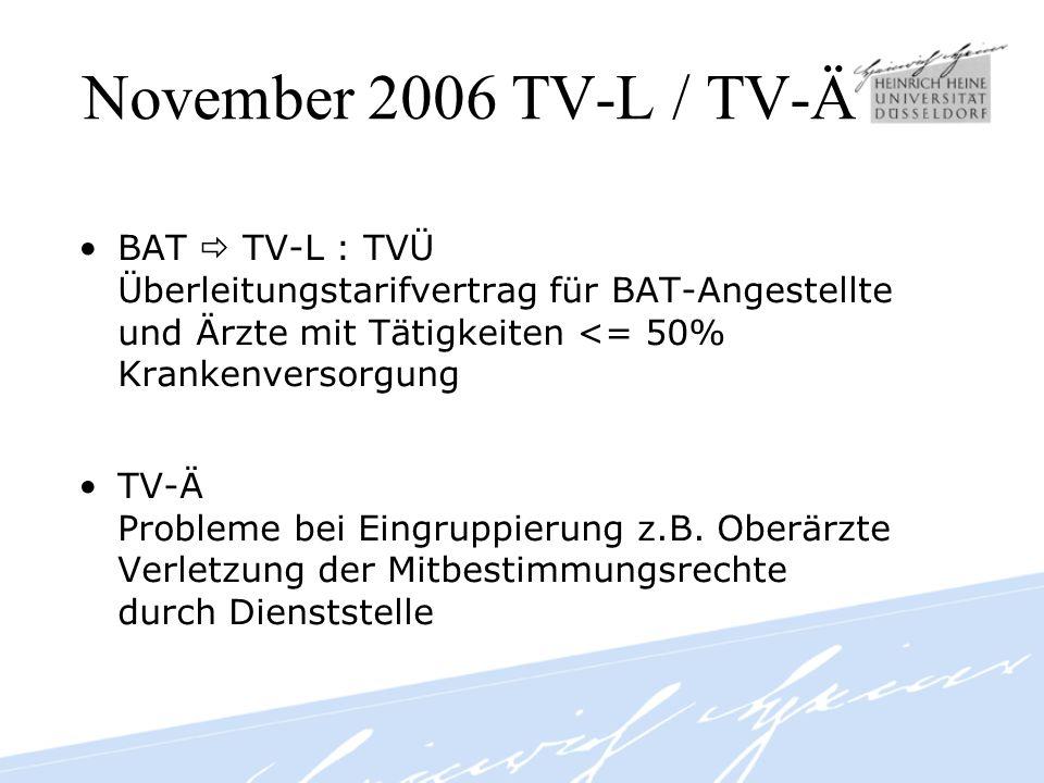 November 2006 TV-L / TV-Ä BAT  TV-L : TVÜ Überleitungstarifvertrag für BAT-Angestellte und Ärzte mit Tätigkeiten <= 50% Krankenversorgung.