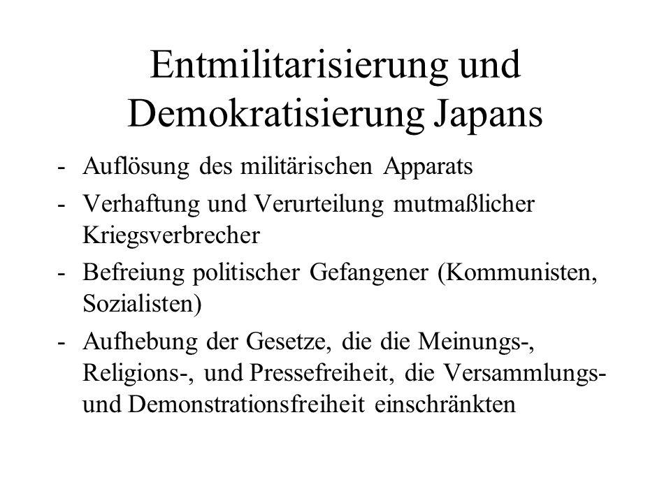 Entmilitarisierung und Demokratisierung Japans