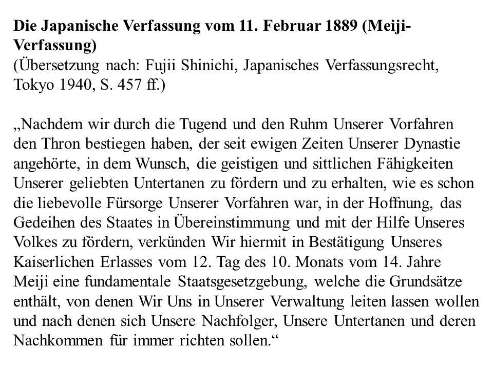 Die Japanische Verfassung vom 11. Februar 1889 (Meiji-Verfassung)