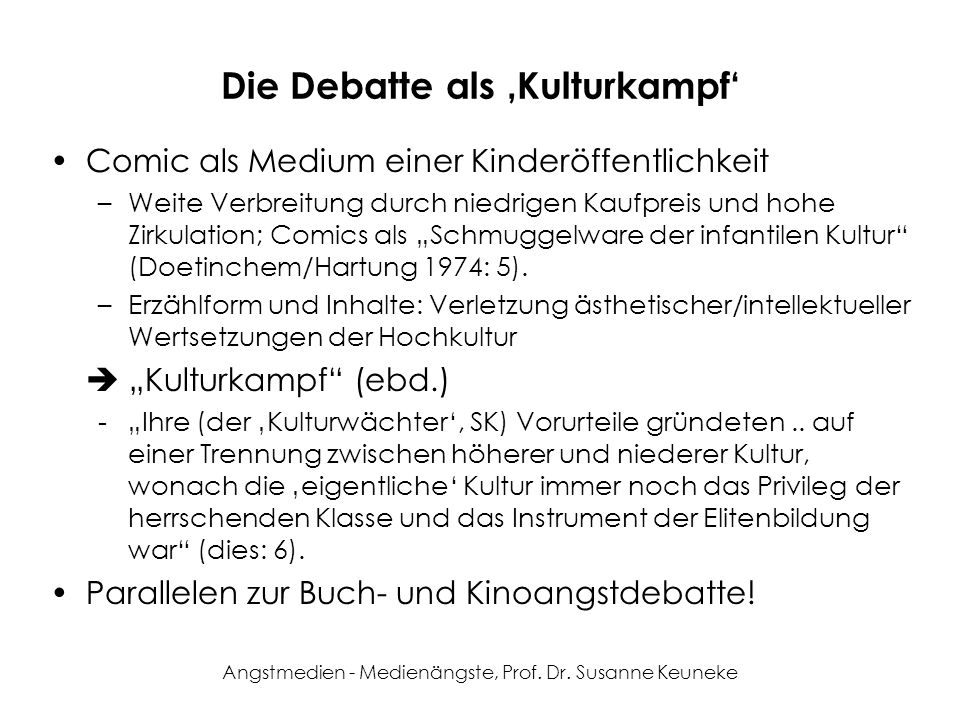 Die Debatte als 'Kulturkampf'