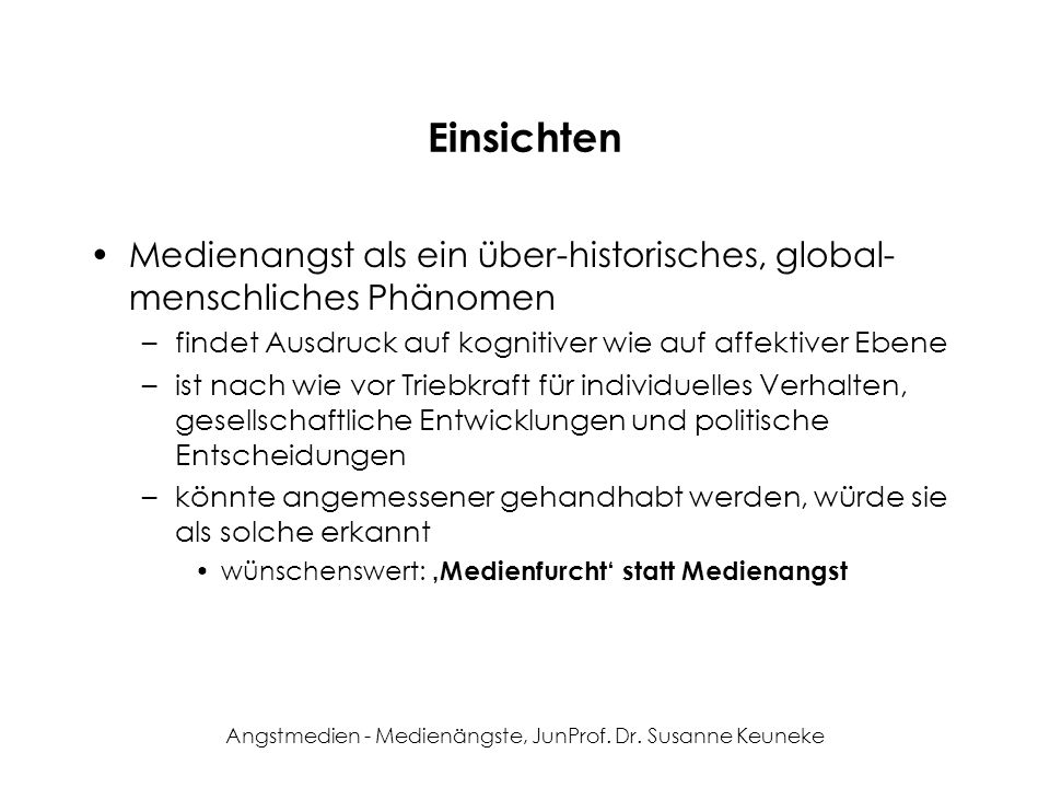 Angstmedien - Medienängste, JunProf. Dr. Susanne Keuneke