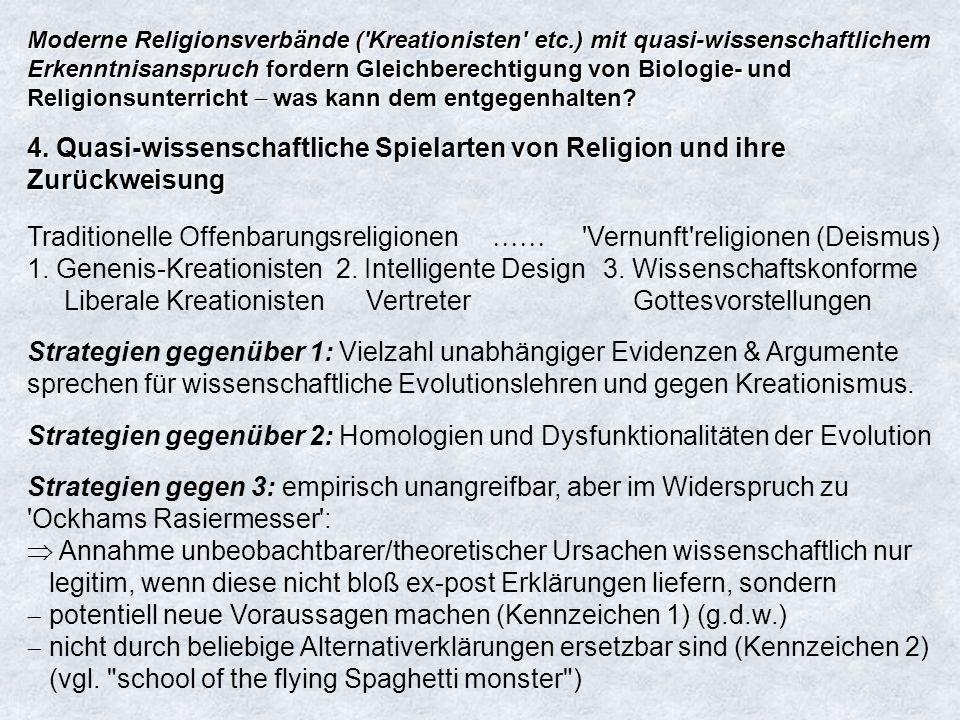 Moderne Religionsverbände ( Kreationisten etc