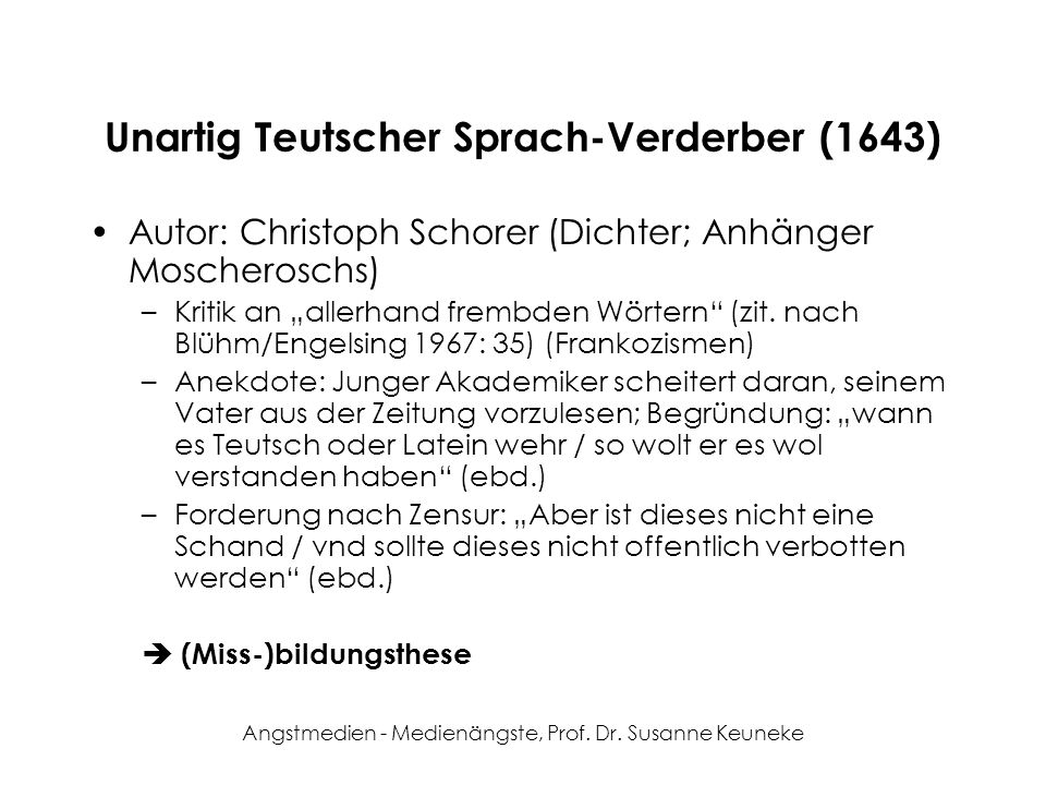 Unartig Teutscher Sprach-Verderber (1643)