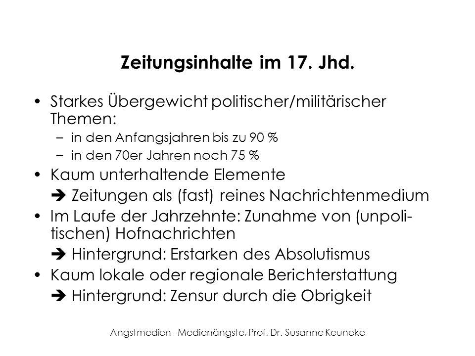 Zeitungsinhalte im 17. Jhd.