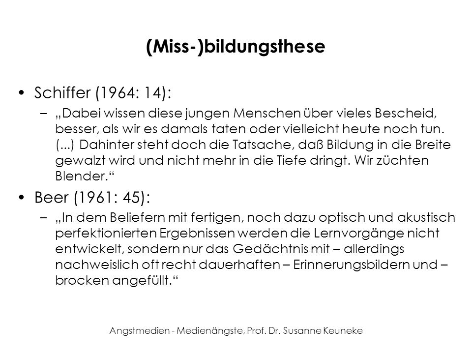 (Miss-)bildungsthese