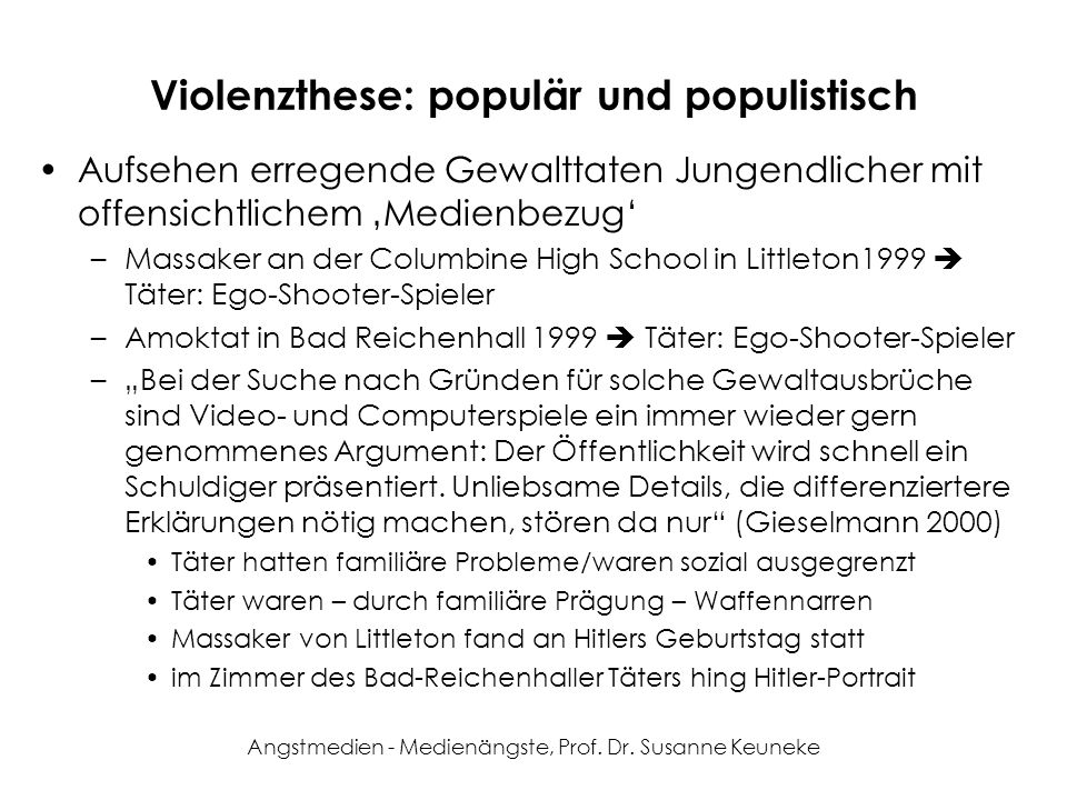 Violenzthese: populär und populistisch
