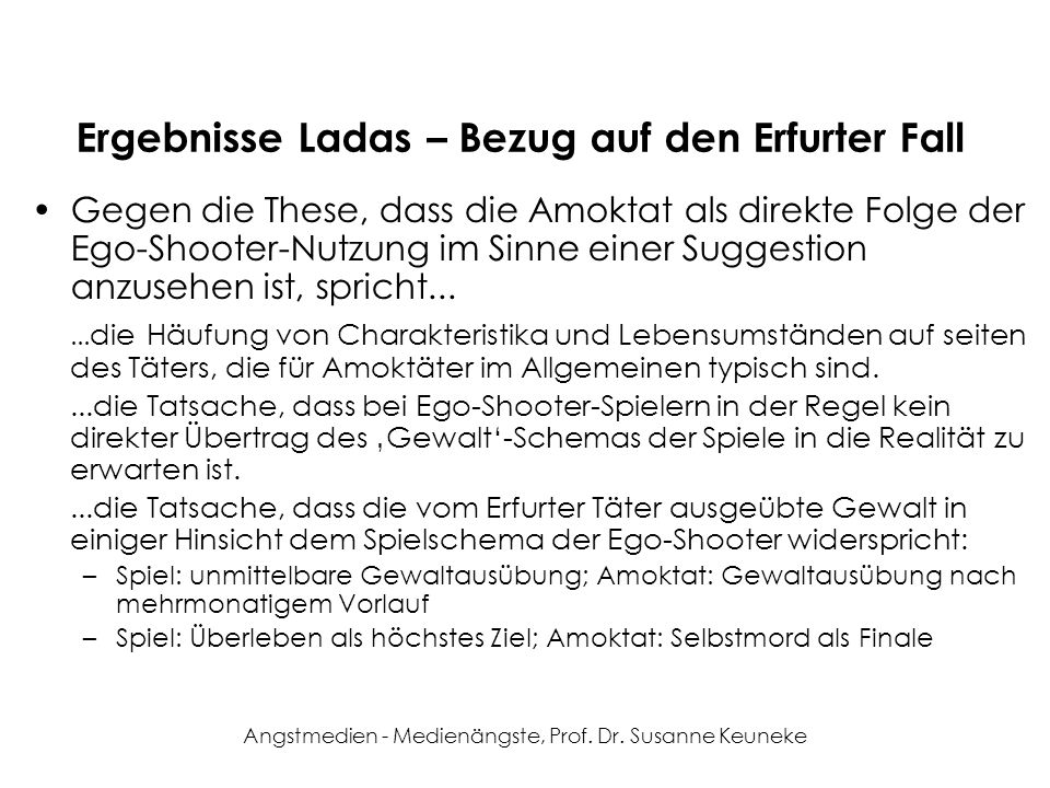 Ergebnisse Ladas – Bezug auf den Erfurter Fall