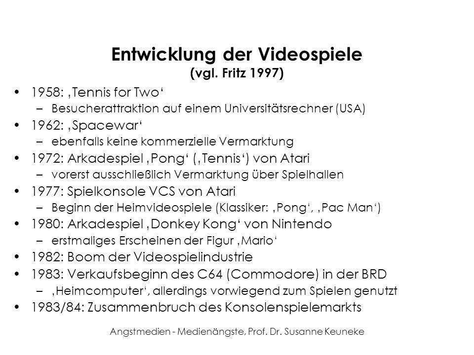 Entwicklung der Videospiele (vgl. Fritz 1997)