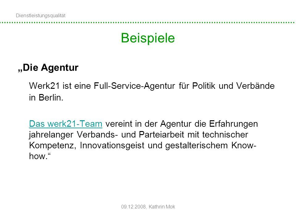 """Beispiele """"Die Agentur. Werk21 ist eine Full-Service-Agentur für Politik und Verbände in Berlin."""