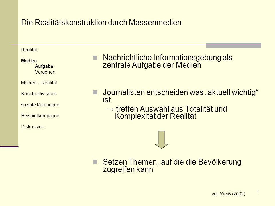 Die Realitätskonstruktion durch Massenmedien