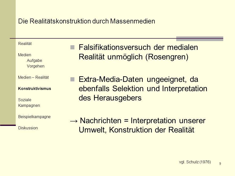 Falsifikationsversuch der medialen Realität unmöglich (Rosengren)