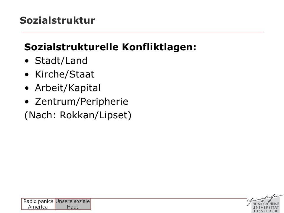 Sozialstruktur Sozialstrukturelle Konfliktlagen: Stadt/Land. Kirche/Staat. Arbeit/Kapital. Zentrum/Peripherie.