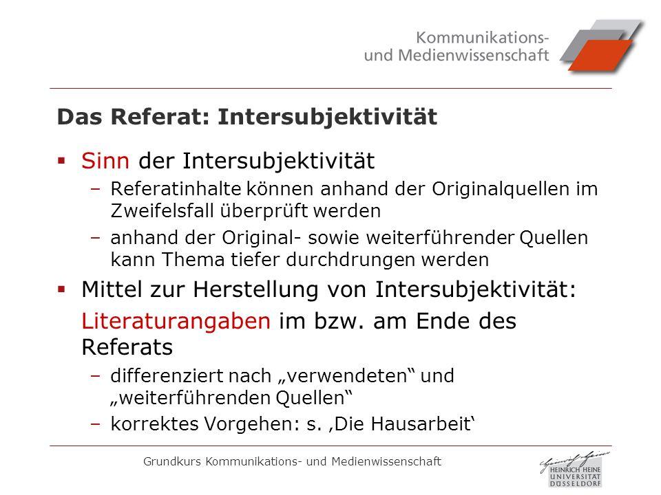 Das Referat: Intersubjektivität