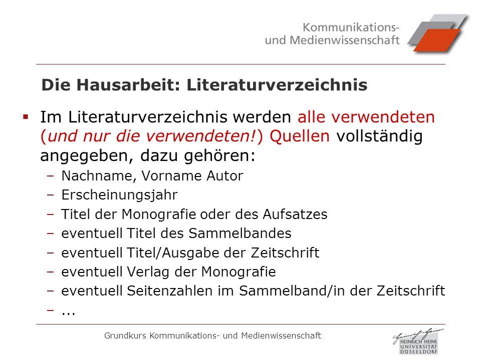 Die Hausarbeit: Literaturverzeichnis