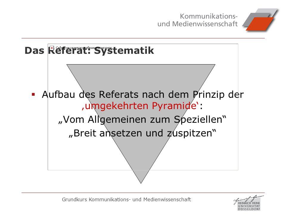 Das Referat: Systematik