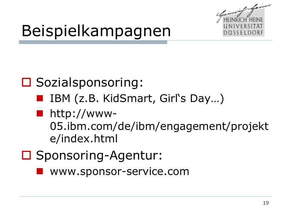Beispielkampagnen Sozialsponsoring: Sponsoring-Agentur: