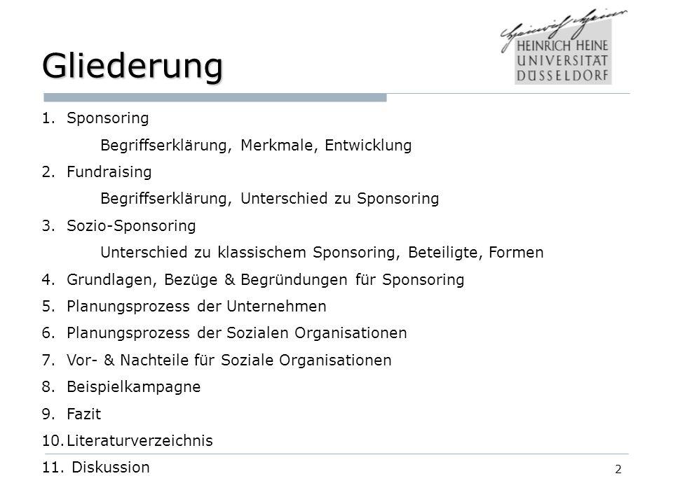 Gliederung Sponsoring Begriffserklärung, Merkmale, Entwicklung