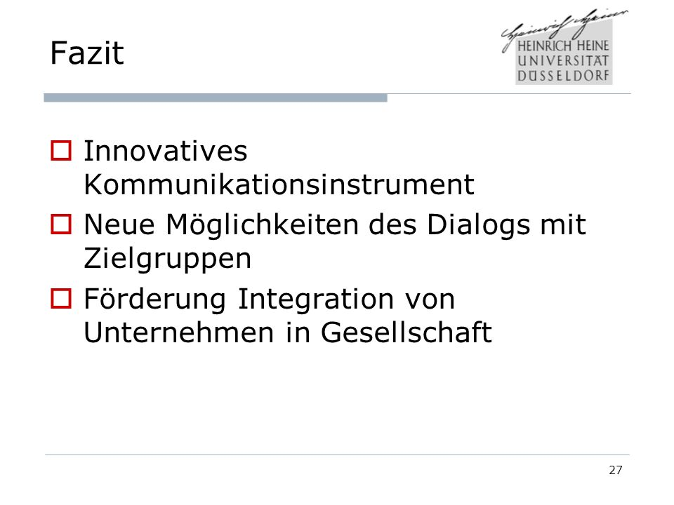 Fazit Innovatives Kommunikationsinstrument