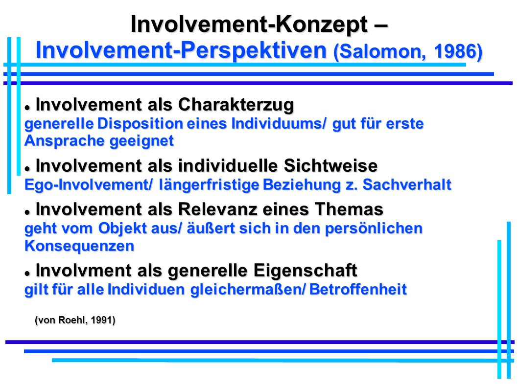 Involvement-Konzept – Involvement-Perspektiven (Salomon, 1986)