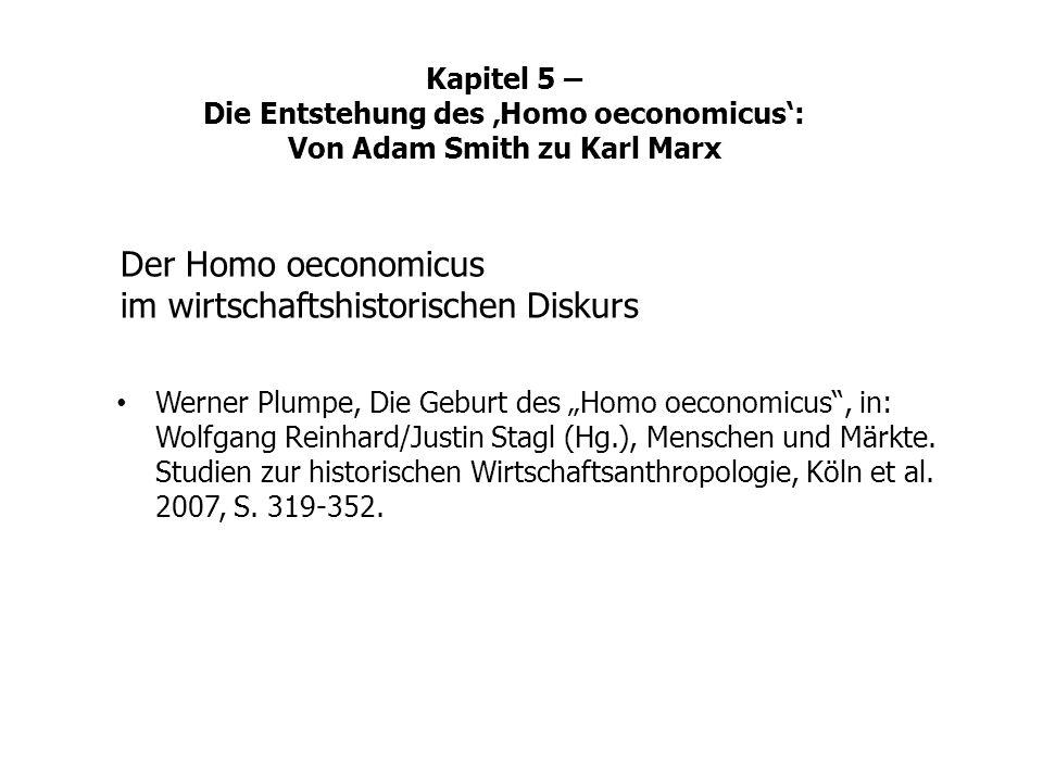 Der Homo oeconomicus im wirtschaftshistorischen Diskurs