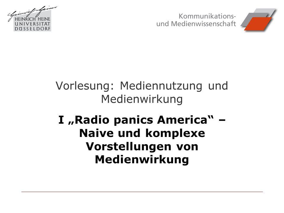 Vorlesung: Mediennutzung und Medienwirkung