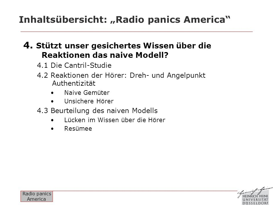 "Inhaltsübersicht: ""Radio panics America"