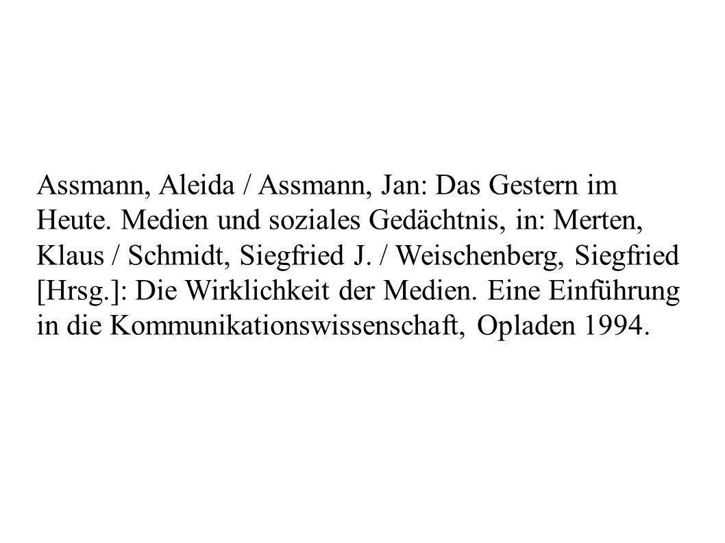 Assmann, Aleida / Assmann, Jan: Das Gestern im Heute