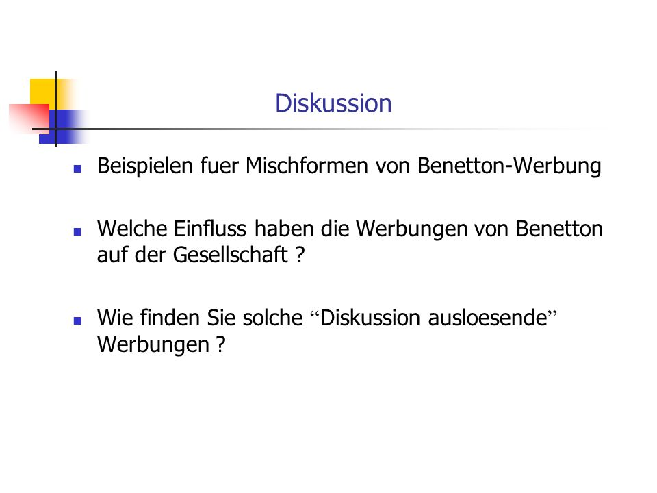Diskussion Beispielen fuer Mischformen von Benetton-Werbung