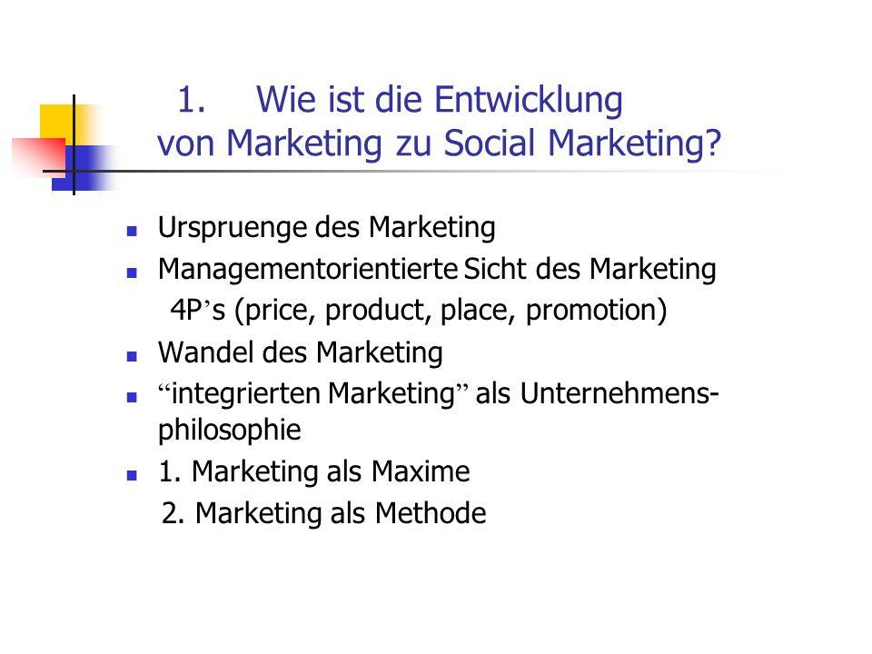 Wie ist die Entwicklung von Marketing zu Social Marketing