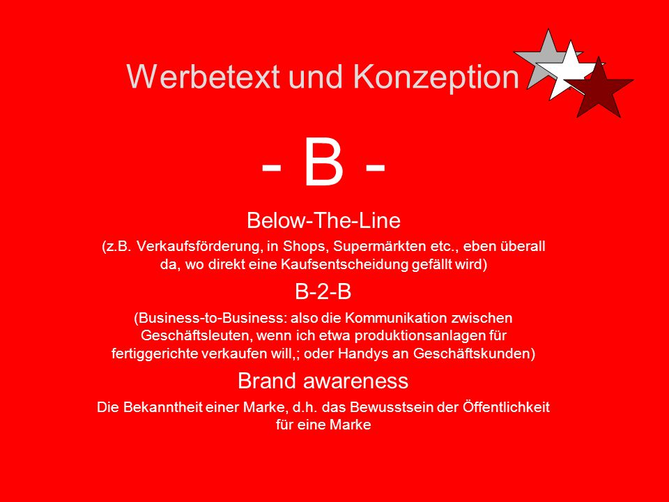 Werbetext und Konzeption