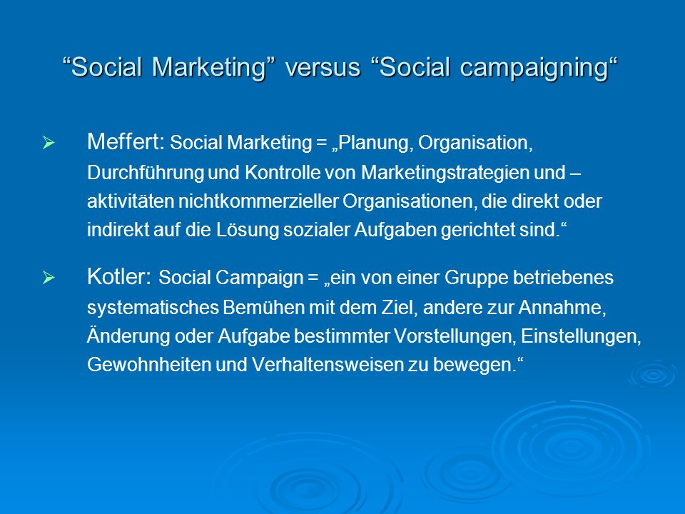 Social Marketing versus Social campaigning