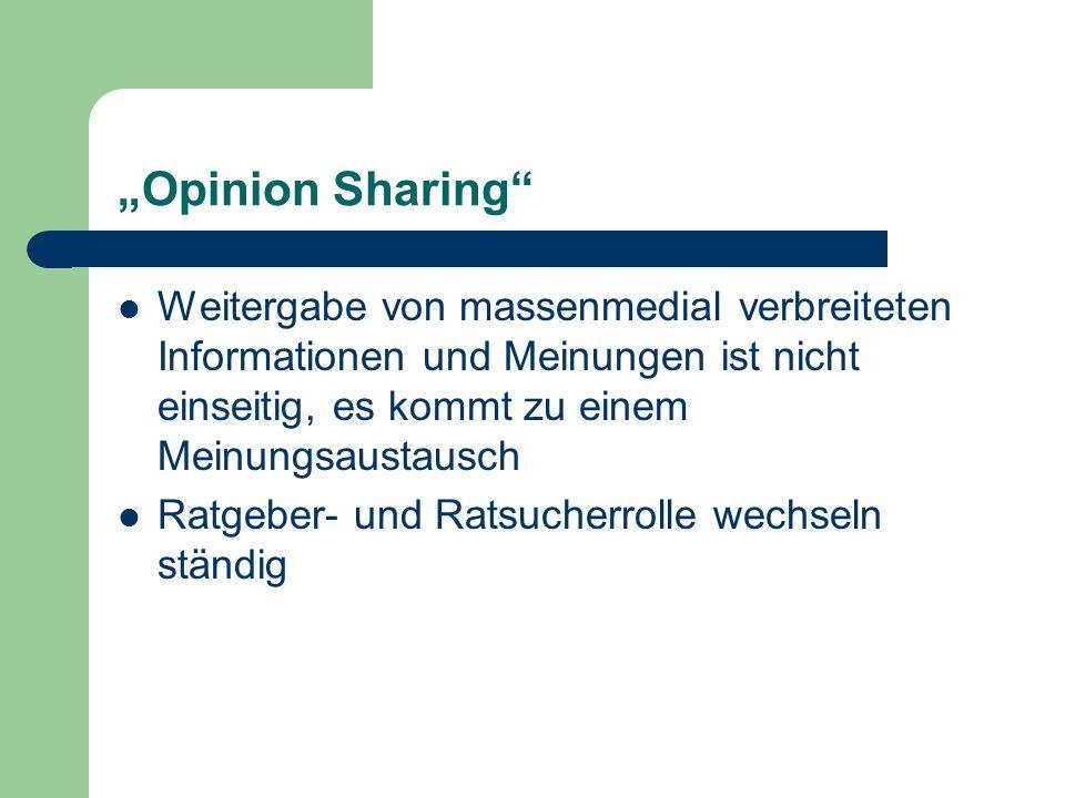 """""""Opinion Sharing Weitergabe von massenmedial verbreiteten Informationen und Meinungen ist nicht einseitig, es kommt zu einem Meinungsaustausch."""