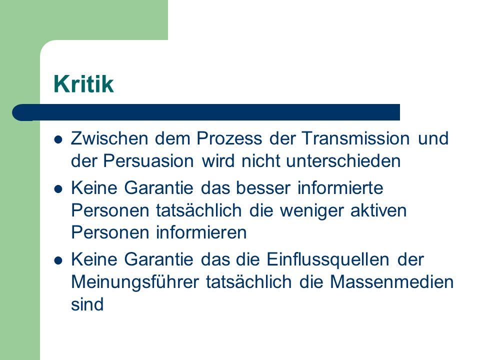 Kritik Zwischen dem Prozess der Transmission und der Persuasion wird nicht unterschieden.