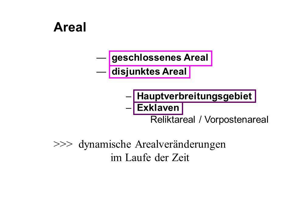 Areal >>> dynamische Arealveränderungen im Laufe der Zeit