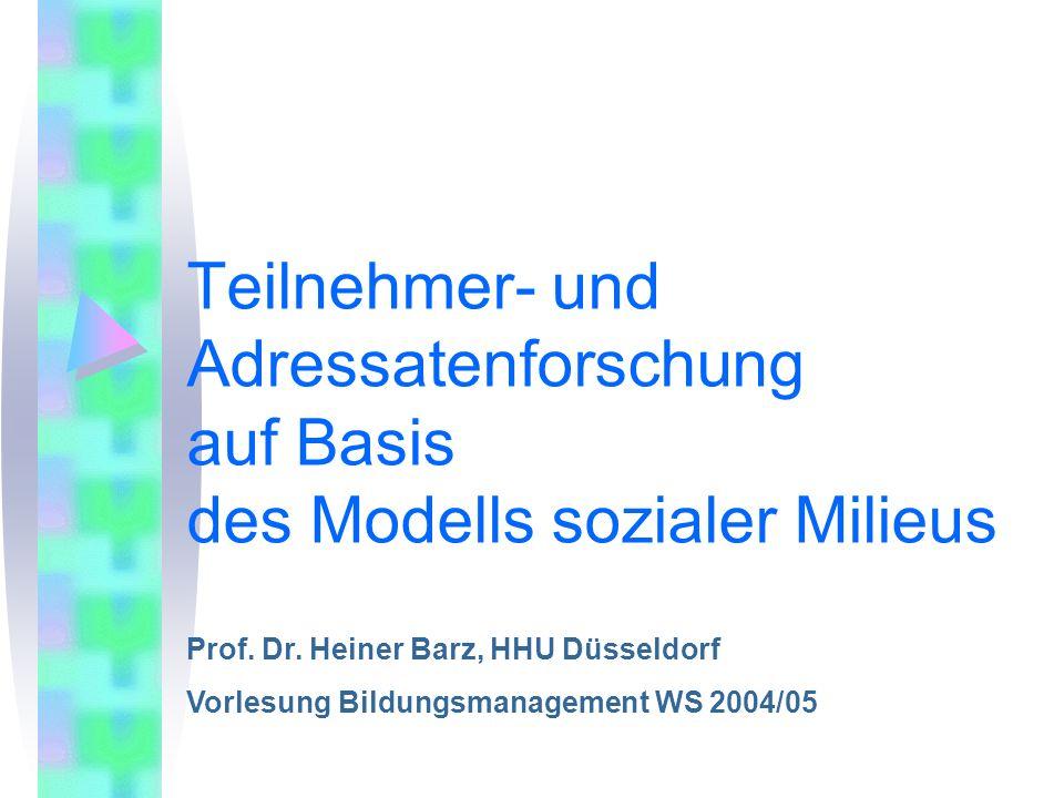 Teilnehmer- und Adressatenforschung auf Basis des Modells sozialer Milieus