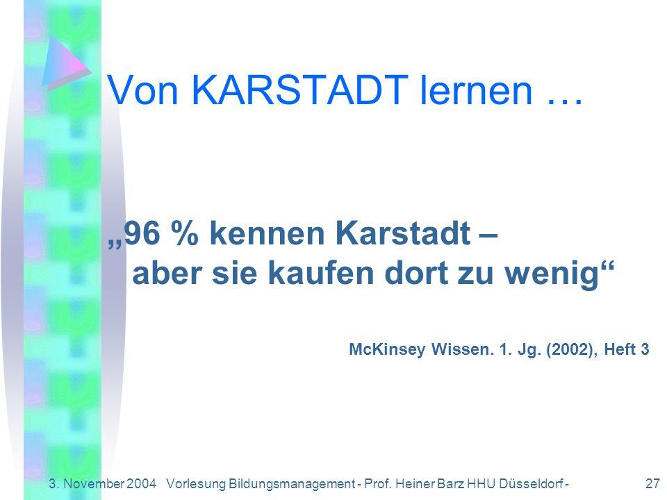Vorlesung Bildungsmanagement - Prof. Heiner Barz HHU Düsseldorf -