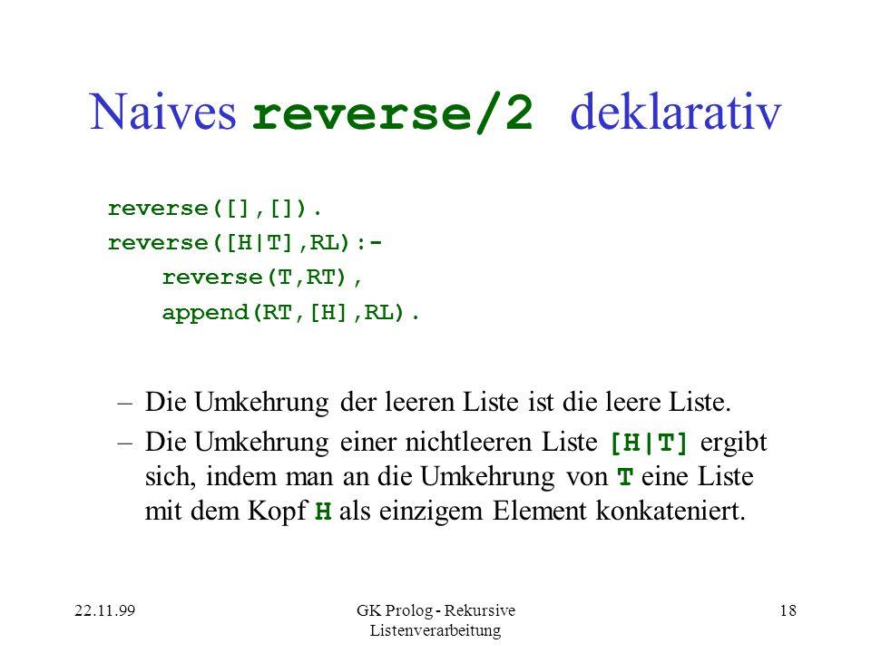 Naives reverse/2 deklarativ