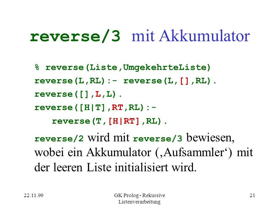 reverse/3 mit Akkumulator