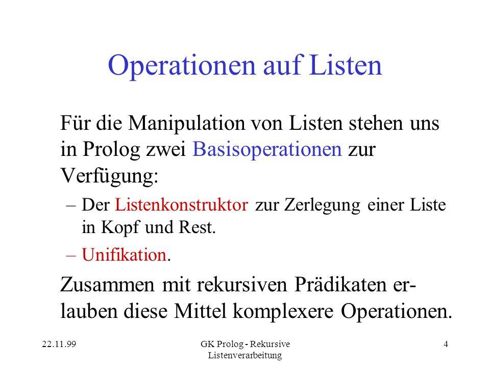 Operationen auf Listen