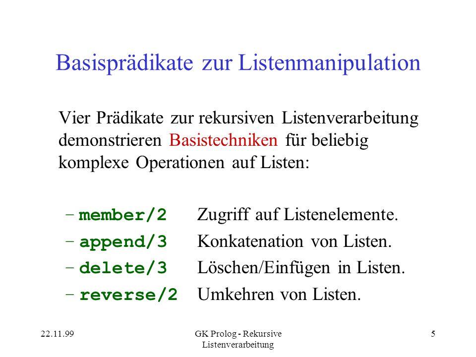 Basisprädikate zur Listenmanipulation