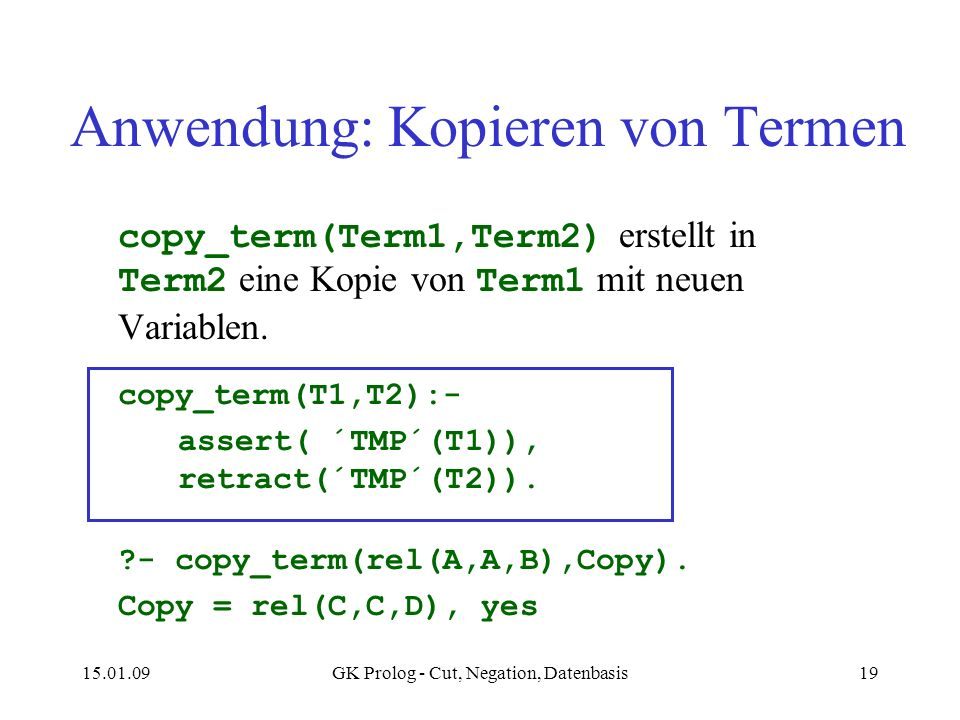 Anwendung: Kopieren von Termen
