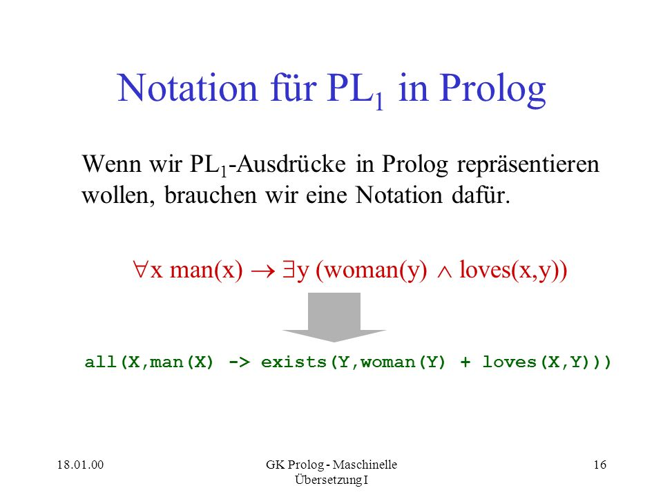 Notation für PL1 in Prolog