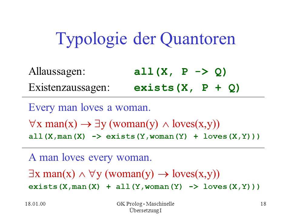 Typologie der Quantoren