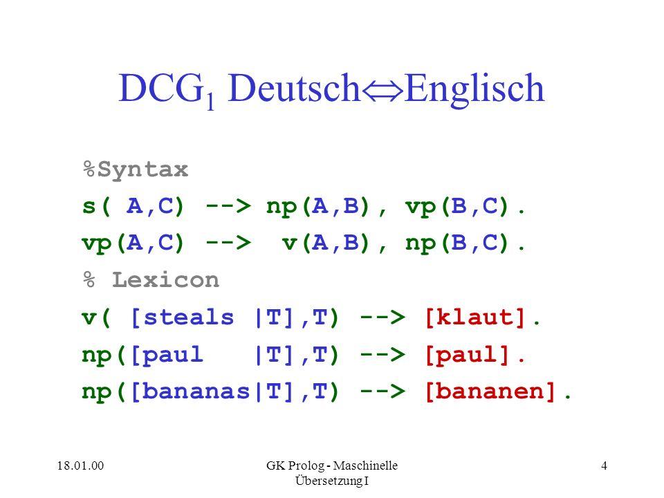 GK Prolog - Maschinelle Übersetzung I