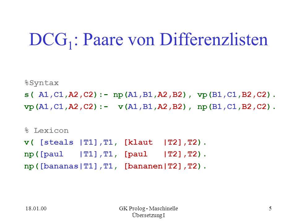 DCG1: Paare von Differenzlisten