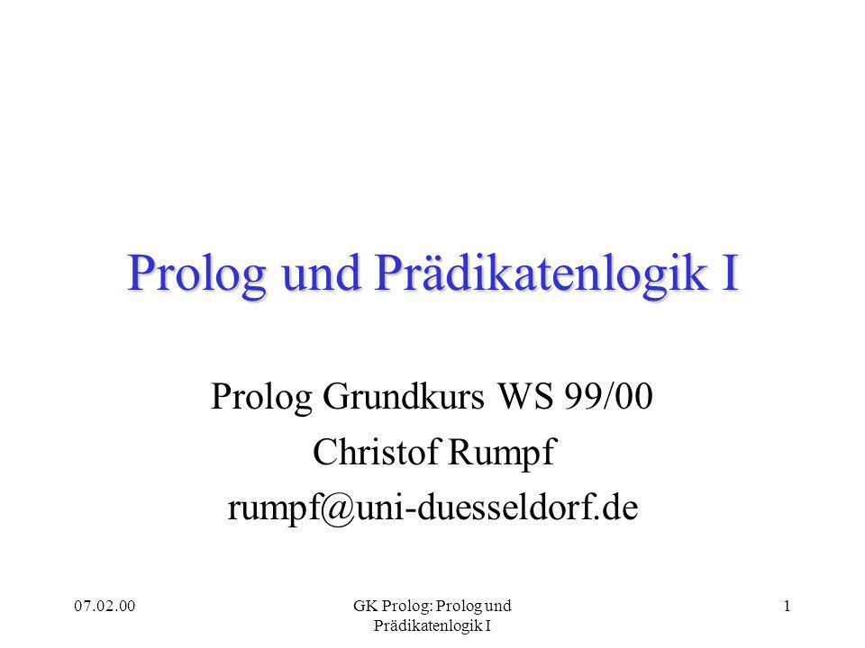 Prolog und Prädikatenlogik I