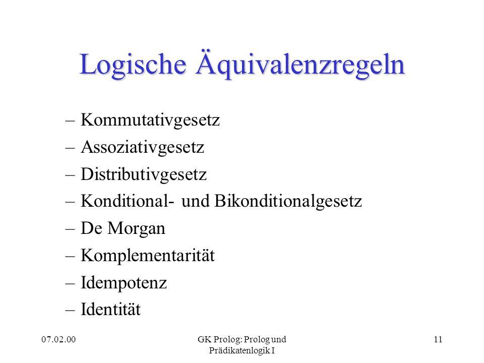 Logische Äquivalenzregeln